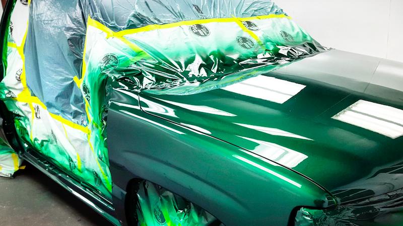 Re-painted car hood